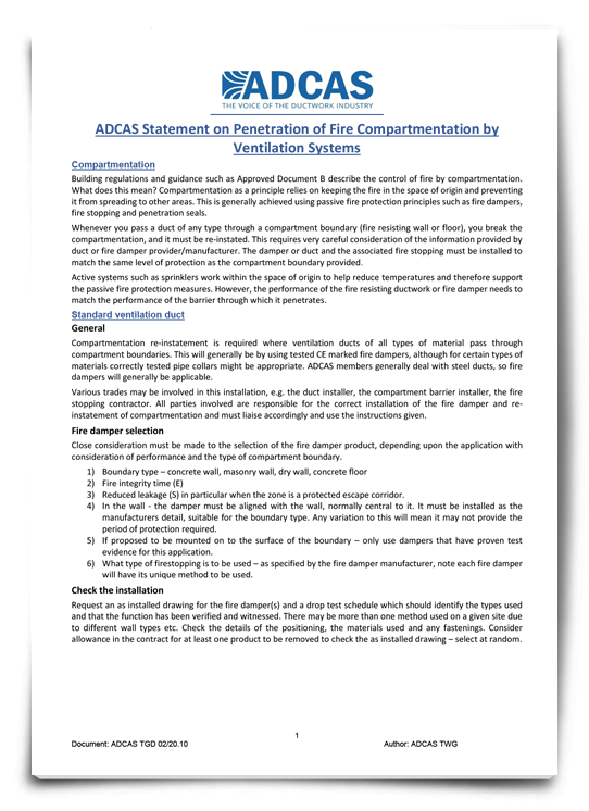 ADCAS TGD 02/20.10 Statement on Penetration of Fire Compartmentation by Ventilation Systems